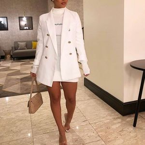 Pretty little thing white blazer and sweater dress